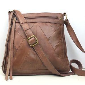 Lucky Brand Cognac Leather Boho Crossbody Bag